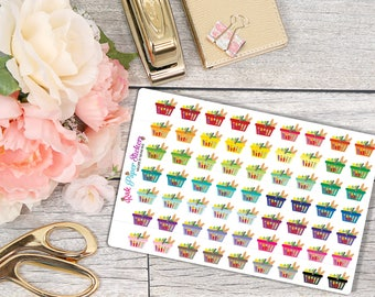 Grocery Baskets - set of 63 stickers for your Erin Condren, Inkwell Press, Happy Planner or other calendar or planner!