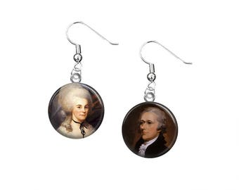Hamilton Earrings, Alexander Hamilton and Eliza Hamilton, 12mm Dangle Earrings, Hamilton the Musical, Lin Manuel Miranda, Hamilton Broadway