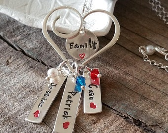 """Stamped in Silver Family Necklace """"A Heart For Mom"""""""