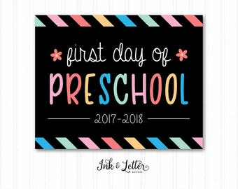 First Day of School Chalkboard - First Day of School Sign - First Day of Preschool - First Day of School Girl - Instant Download
