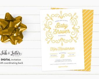 Yellow Baby Shower Invitation - Team Green Shower Invitations - Digital Shower Invitation - Printable Invitation - Gender Neutral Shower