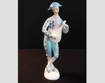 Royal Doulton Harlequin Figurine, HN2186, Teenager Series, Boy Playing Mandolin, Released 1957, Retired 1969, Harlequin Clothing, Bone China