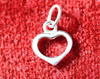 Sterling Silver Heart Outline 10x9mm - Five per pack