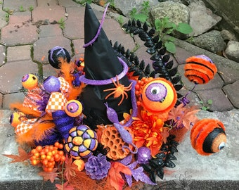Witch Hat, Halloween Witch Hat, Halloween Table Decor, Halloween Mantel Decor, Halloween Witch Decorations, Table Centerpiece, Pumpkin Decor