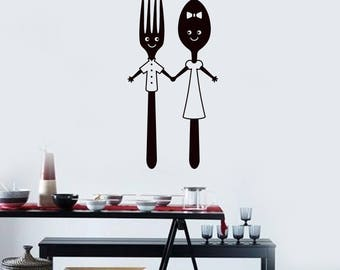 Spoon and Fork Vinyl Wall Decal Funny Dining Room Restaurant Art Stickers Mural (#2612di)