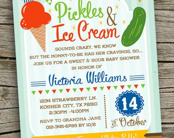 Pickles and Ice Cream Invite / Baby Shower Invitation/ Pickles & Icecream Baby Shower Theme Invitation/ Girl Baby Shower/ Boy Baby Shower