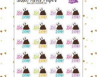 Get Shit Done Planner Stickers   Funny Planner Stickers   Fits Erin Condren, The Happy Planner, Etc   Poop Stickers   To Do Stickers   133