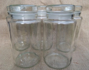 Glass Storage Jar, Large Clear Airtight Kitchen or Bathroom Storage, Immaculate Condition, Glass Stoppers, Vintage Mid Century, 5 Available