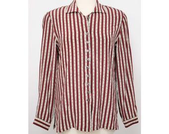 Vintage 80s Evan Picone Red Beige Striped Silk Button Down Blouse Size 8