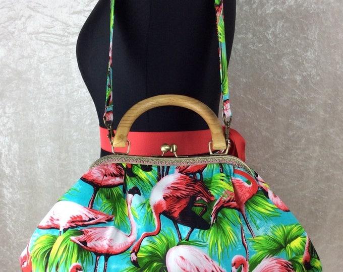 Fabulous Flamingos Betty frame bag fabric handbag purse handmade in England