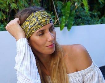 Yellow Yoga Headband / Workout Headband / Fitness Headband / Running Headband / Boho Wide Headband / Womens Headbands / Hippie Headband