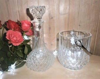Vintage Crystal Spirits Decanter and Ice bucket / / / Bourbon/whiskey / / its ice bucket and crystal glass decanter