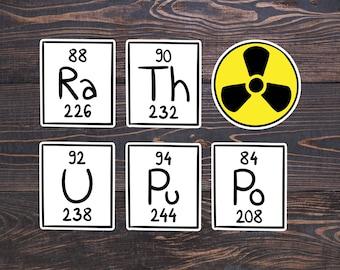 Radioactivity Chemistry Stickers - Radioactive Sign/Chemical Elements Symbols/Particle Physics Sticker Gift/Nuclear/Radiation/Radium/Uranium