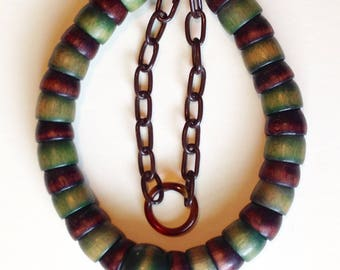 1940's Wood Bead Necklace With A Celluloid Chain