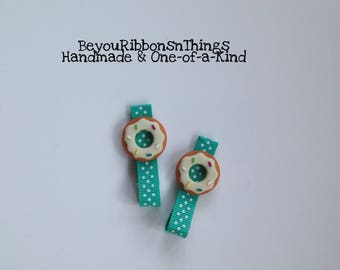 Vanilla Donuts | Hair Clips for Girls | Toddler Barrette | Kids Hair Accessories | Grosgrain Ribbon | No Slip Grip | Can't Resist