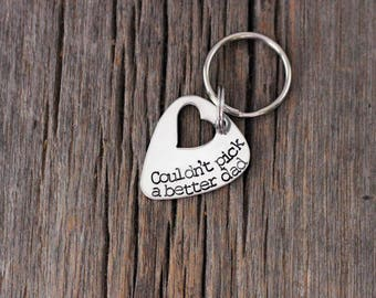 Hand stamped stainless steel Father's Day guitar pick keychain / gifts for dad / Couldn't pick a better dad / gift ideas