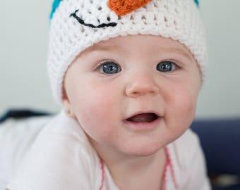 Crochet Snowman Hat, Baby Snowman Hat, Snowman Hat, Turquoise Hat, Winter Hat, Snowman Crochet Hat, Photo Prop, Beanie, CUSTOM ORDER