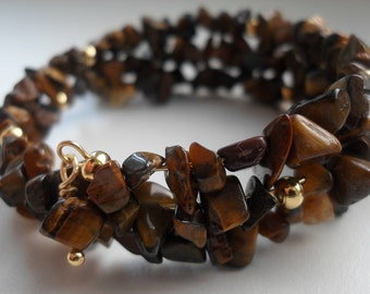 Handcrafted Small Nugget Yellow Tigers Eye Memory Wire Bracelet