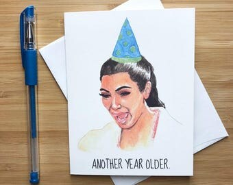 Kim Kardashian Birthday Card, Crying Kim K Birthday, Funny Birthday Card, Happy Birthday, Kanye West, Kendall and Kylie Jenner, Kim K Gift