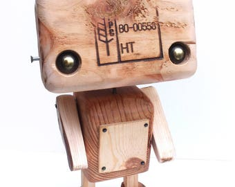 Recycled wooden robot - the tattooed