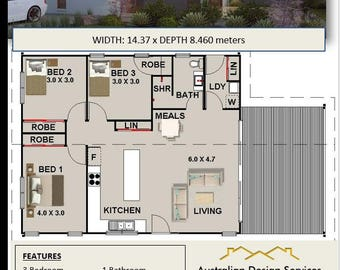 Blue Gum Cottage 3 Bed House Plans For Sale | 114.63 m2 -1233 sq feet - 12.3 sq