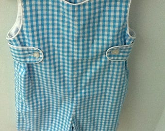 Size 2T turquoise and white check  jon jon