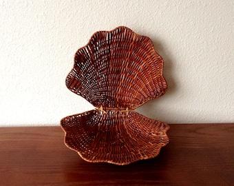 Vintage Brown Seashell Wicker Basket, Woven Clam Wicker Basket, Boho Wicker Basket Wall, Shell Wicker Basket, Boho Wall Art, Jungalow Decor