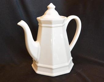PFALTZGRAFF HERITAGE Four Cup Teapot, Coffee Pot, Ironstone, White Glaze, 8 sided