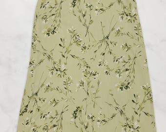 Vintage Rena Rowan Green Floral Long Thin Skirt, Womens Size 14 (33 Inch Waist)
