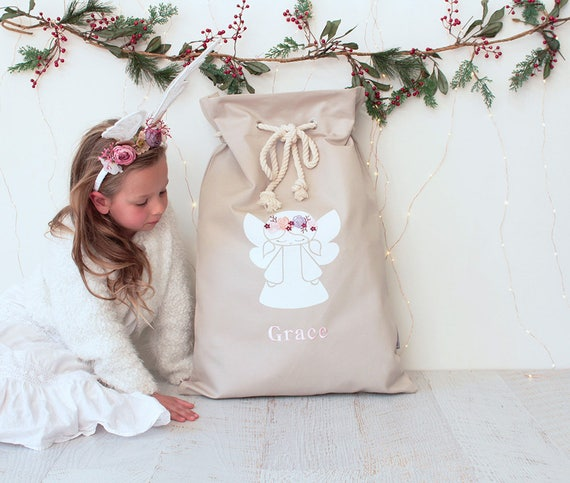 Personalised Santa Sack Angel with Flowers