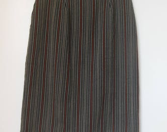 Escada Margaretha Ley Vintage Black, Beige, Brown Vertical Striped Wool/Nylon Pencil Skirt size 36 (6)