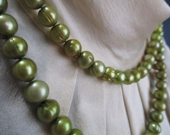 Sage Green Freshwater Pearl Necklace with Sterling Clasp 32""