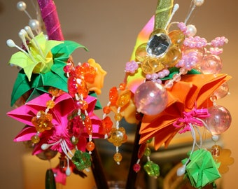 Origami Japanese Decorated Hair Sticks Ornament