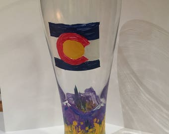 Hand Painted Colorado Pilsner Glass - Mounatins in Fall