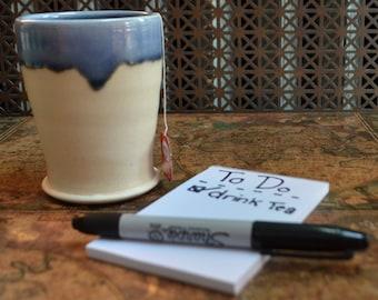 White & Blue Ceramic Cup, wheel thrown
