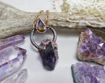 Ametrine Namibia Amethyst electroformed copper pendant. Crystal jewelry boho vibes.