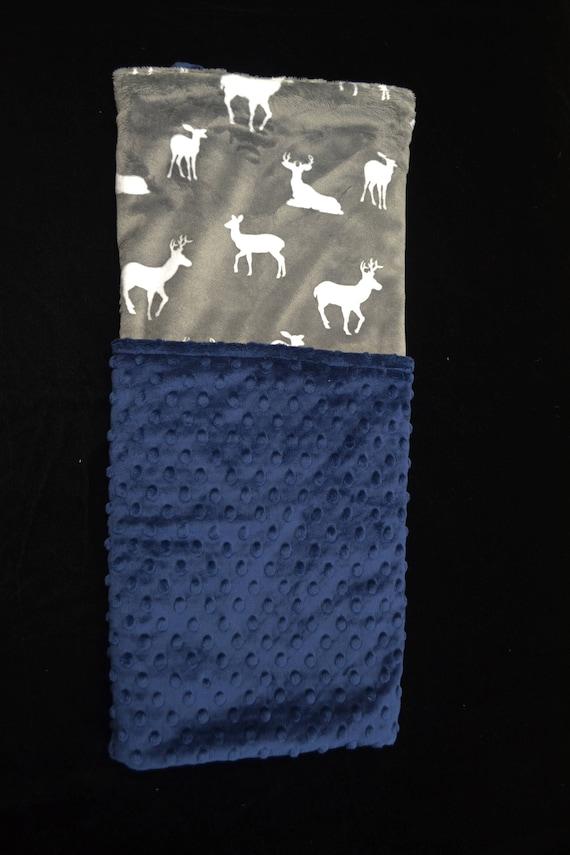 Personalized Minky Baby Blanket-Baby Boy Blanket-Minky Baby Blanket- Dark Blue, Grey and White Deer Minky Baby Blanket-Going Home Blanket