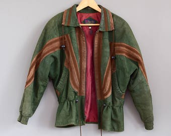 Vintage Suede Jacket Mexican Jacket Military Green Jacket