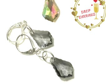 Smokey Faceted Glass Silver Earrings, Shimmering Glass Earrings, On Trend Earrings, Party Earrings, Stylish Gift, On Trend Style Earrings