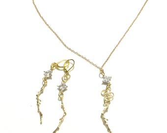 Gold Pendant and Earring Set, Dazzling Gold Branches and Cubic Zirconia Pendant and Earrings, Unique Earring  Pendant Set, OOAK Gift Set