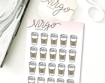 Mini Coffee Cup Hand Drawn Planner Stickers - Coffee Cup Stickers - Coffee Lover, But First Coffee, Coffee Shop, Planner Stickers MCC