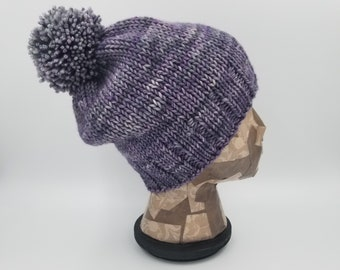 Pom Pom Beanie, Hand Knit Hat, Malabrigo, Winter Hat, Hat for Women, Hat for Men, Wool Hat, Wool Beanie, Bobble Hat, Merino Wool Hat