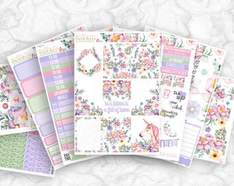 Unicorn Daydream No White-Space Weekly Kit - Planner Stickers