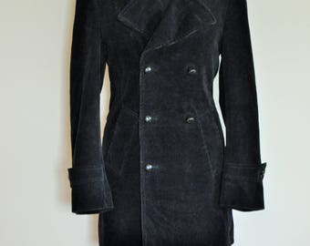 Vintage Mens Velvet Jacket / Smoking jacket / Blazer / Coat / Long / Suit / Black / Medium / M / Evening / Retro / Outwear