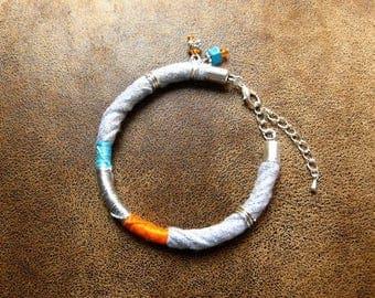 Ethnic bracelet ~ textile ~ * unique * ~ colorful Bracelet ~ ethnic jewelry ~ textile jewelry ~ trapilho Bracelet