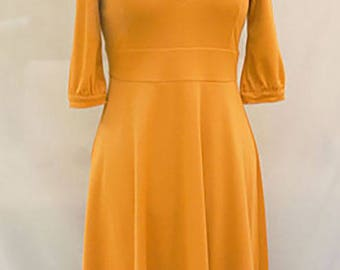 Saffron milano jersey dress - deep neckline yellow dress - mustard yellow midi dress - Hand made - Made in France