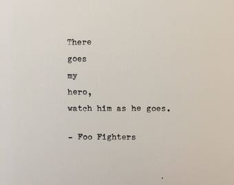 Foo Fighters quote hand typed on antique typewriter scrapbooking