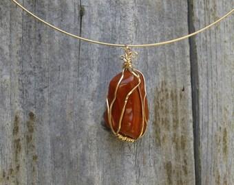Orange gold gold filled with large red Jasper pendant