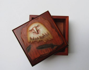 Indian Eagle Head Trinket Keepsake Box