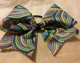 Multi Colored Swirls- cheer bow - on  ribbon or  glitter